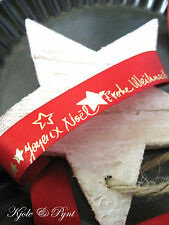 0,72€/m     25m Satin rot gold * Frohe Weihnacht * Merry Christmas 2,5cm Advent