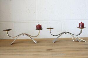 Ikora Germany Silverplate Candle Holders Votive or Pillar Modern Mid Century