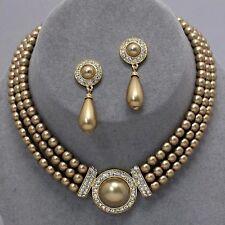 Golden pearl jewellery faux pearl diamante necklace set PROMS bridal 0365