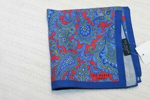 Ted Baker London men's Blue Red Paisley Pocket Square