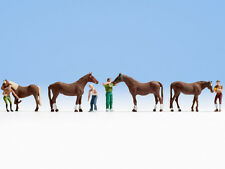 cheval toilettage 4 chevaux et travailleurs - OO/HO chiffres - Noch 15632