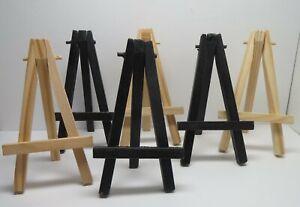 Easels -  Wood - Set of 6 - 3 Natural Unf. - 3 Black