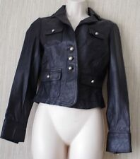 BEBE GENUINE LEATHER BLACK CROPPED JACKET BLAZER MOTORCYCLE WOMEN SIZE:XS