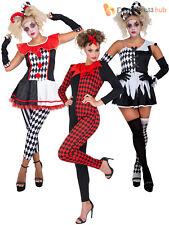 Ladies Evil Jester Harlequin Costume Adults Halloween Fancy Dress Womens Circus