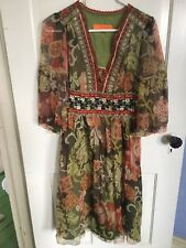 Cynthia Rowley dress 8 Autumn colors embroidered And Flowing
