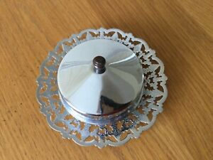 Vintage chrome and glass butter dish and cover Bakelite knop