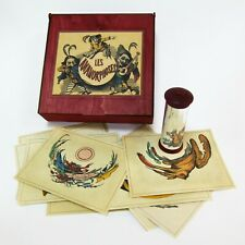 Anamorphoscope. Optical animation antique toy with anamorphosis pictures