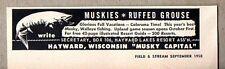 1958 Print Ad Muskies Fishing Hayward,Wisconsin Musky Capital