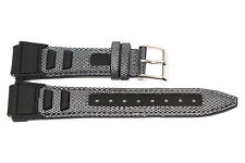 18mm Black Gray Nylon Leather Sport Tech Waterproof Watch Band Strap