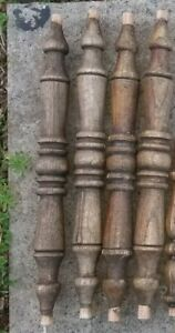 """Antique Colonial Balusters Stair Railing  Turned Walnut? Wood Spindles (4) 18""""L"""