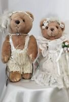 "TWO Bearly People, fully articulated bears, Lady Snow 14 "" ,Victorian bride 12"""