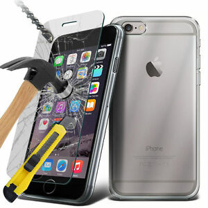 Ultra Clear Gel Case and Tempered Glass Screen Protector For Apple Samsung Sony