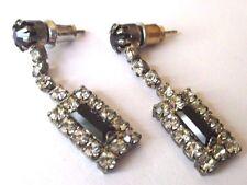boucles d'oreilles percées bijou vintage couleur argent cristal noir diamant 331