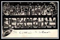 UNCOMMON BIRMINGHAM ALABAMA MOON GREETINGS LARGE LETTER POSCARD 1906