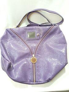 Gianni Bini Purple Leather Handbag Shoulder Bag w/ Zippers