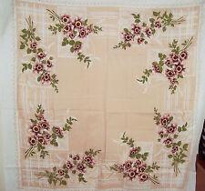 Retro Tablecloth   70's Vintage Beige 120 x 125cm Caravan Flowers Floral
