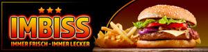Banner oder Aufkleber - IMBISS Werbung Spanntransparent Hamburger Pommes 3StarBG