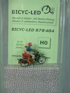 BICYC-LED 878404 Biker mit Sozius / Motorrad / Spur H0 / Mit Beleuchtung / NEU!