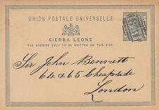 SIERRA LEONE:1881 ONE PENNY Postal Card H &G 1 used 1888  to London