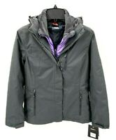 Gerry Womens 3 in 1 System Gray Lilac Jacket Coat Hood Puffer Interchangeable S