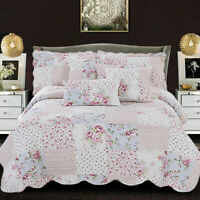 New Modern 3 PCS Printed Quilted Bedspread Bed Throw Comforter Set in all Size