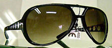 ELVIS SUNGLASSES  AVIATOR LARGE BLACK FRAMES SMOKE LENSES METAL ARMS