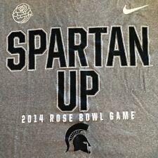 Nike 2014 Michigan State Spartan Up T-Shirt Football Rose Bowl Game Gray DriFit