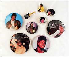 Michael Jackson 80's 90's Lot Of 9 Buttons & Pins Thriller / Mini Guitar