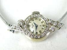 Antique Solid 14k White Gold Elgin Natural .50ctw Diamond Ladies Watch 11.9g