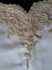 Wedding Dress Sleeve Fragment White Satin Ivory Beaded Sequined Alencon Lace