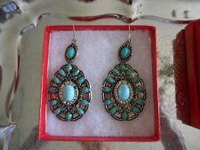 WESTERN STYLE DANGLE/DROP EARRING TURQUOISE STONES RODEO COWGIRL 3 1/2 DROP