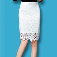 1Piece Women Elegant Floral Lace High Waist Wear to Work Slim Tight Bottom Skirt