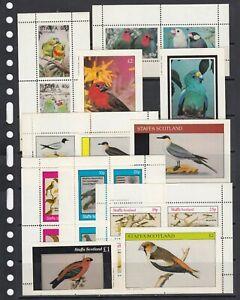 Parrots Birds 1982 Staffa local Scotland MNH 6 sets perf  + 6 S/s Wholesale lot