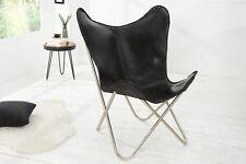 Butterfly Sessel Stuhl TEXAS Echtleder schwarz Eisen Loungesessel Designchair