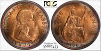 1967 GREAT BRITAIN ONE PENNY PCGS MS64RD HIGH GRADE COIN CIRCLE TONED