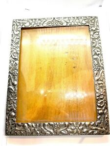 """Large Vintage Egyptian 800 Silver Floral Repousse Design Picture Frame 7 x 9"""""""