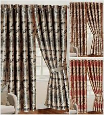 Fully Lined Ring top Luxury Jacquard Ready-Made Rosa Heavy Curtains & Tie backs