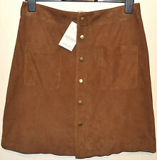 LADIES M&S INDIGO COLLECTION LEATHER SUEDE MINI SKIRT SIZE 12 TAN BNWT