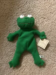 """RARE Russ Berrie 9"""" Frugs Bean Bag Frog Plush Stuffed The Heartcraft Collection"""