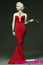 "DIY 1:6 Scale Female Marilyn Monroe red dress for 12"" Phicen Big Bust Body Model"