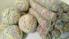 Multi-Colored 'Chenille' cut Style Yarn 20 Skeins Pink Yellow Blue Green White