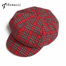 Berets Retro Plaid for Women Pure Cotton 8 Panel Hat Classic Flat Newsboy Caps