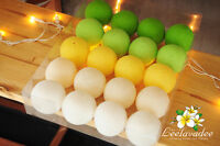 20 GREEN COTTON BALL STRING LIGHTS PARTY PATIO FAIRY WEDDING VALENTINE DECOR