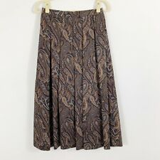 Vintage Sherri Riddell Pleated Skirt Size 6 Brown Blue Paisley Lined Small Waist