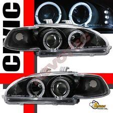 92-95 Honda Civic 2Dr Coupe 3Dr Hatchback Halo LED Black Projector Headlights