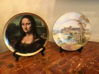 2 porcelain Plates Mona Lisa Bavaria Vohenstrauss Royal Worchester Handpainted