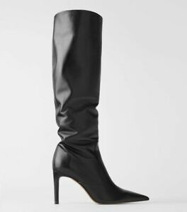 ZARA Black Knee High Leather Stiletto Heel Boots Size 8/41 BRAND NEW