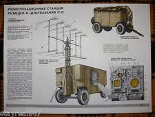 Authentic Soviet Russian USSR military poster Radiolocation Radar station P-12
