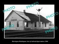 OLD 8x6 HISTORIC PHOTO OF HARRINGTON WASHINGTON RAILROAD DEPOT STATION c1960