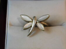 Sterling Silver White MOP Mother of Pearl Butterfly Dragonfly Insect sz 5.5 Ring